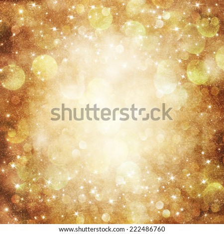 Golden Holiday Abstract Glitter Defocused Background With Blinking Stars.  - stock photo