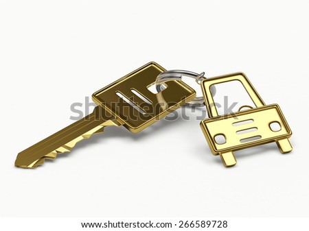 Golden key with a trinket in the form of a car isolated on white background - stock photo