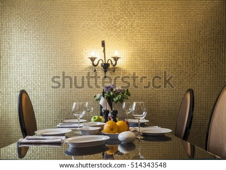Golden  living room Set table