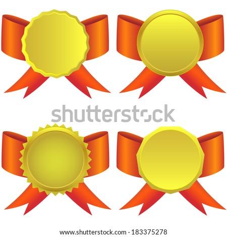 golden medals on the white background. Raster illustration. - stock photo