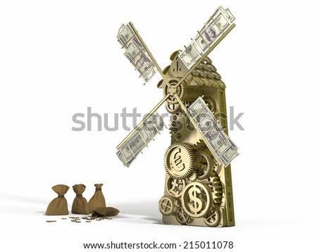 Golden mill  doing gold money and different currency - Dollar, Euro, Yen. Concept 3d business illustration - stock photo