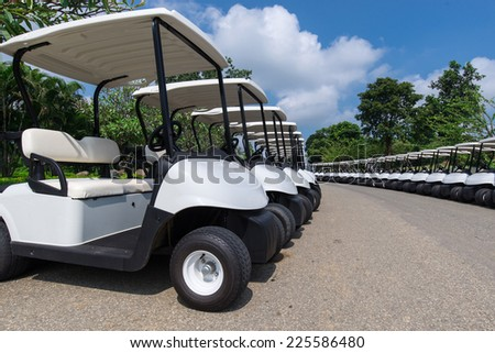 Golf Cart all in a Row