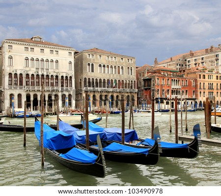 Gondola on the Grand Canal  Venice, Italy - stock photo