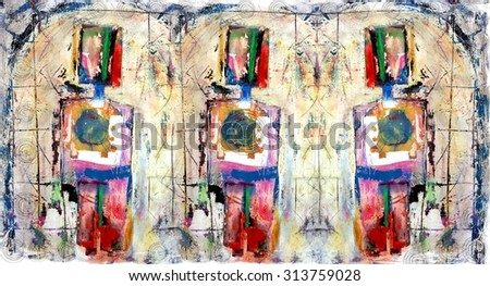 3 Good Boys Colorful Original Abstract Painting - stock photo