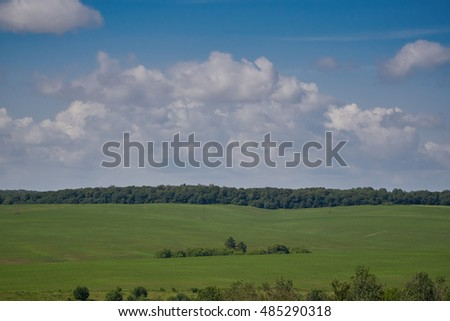 Good crop field on a background of blue sky with clouds.