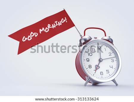 'Good Morning!' Greeting. Old-fashioned alarm clock with a red banner and handwritten phrase on it. 3D rendered graphics on light background. - stock photo