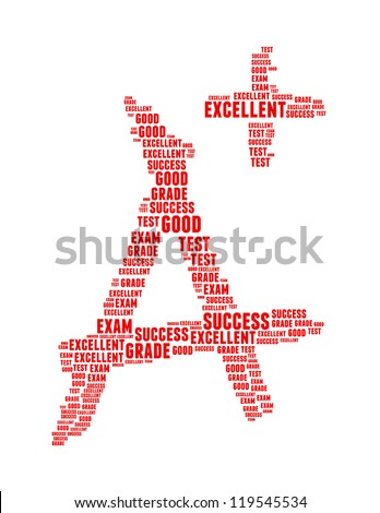 grade info text collage Composed in the shape of capital letter A an isolated on white - stock photo