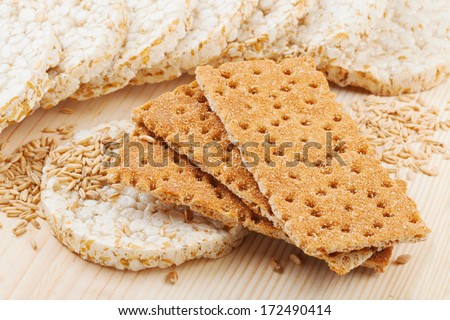 grain Crispbread, different types of cereal crackers - stock photo