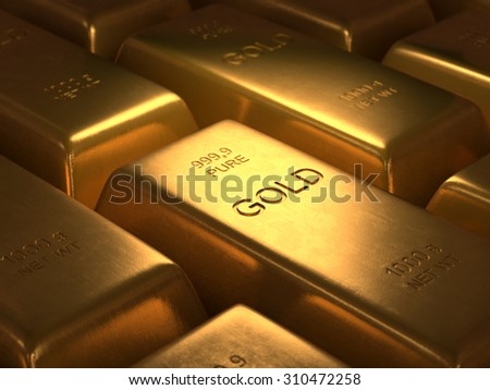 1000 grams of pure gold. Depth of field in the gold word. - stock photo