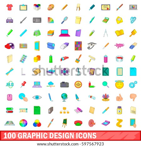 100 graphic design icons set in cartoon style for any design  illustration