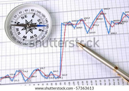 Graphs and charts. Workplace businessman. with compass - stock photo