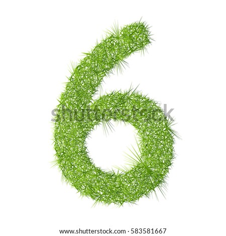 6 grass letter on a white background