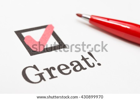 ?Great! check boxes - stock photo