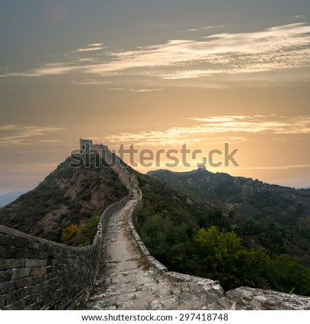 Great Wall of China in the morning - stock photo
