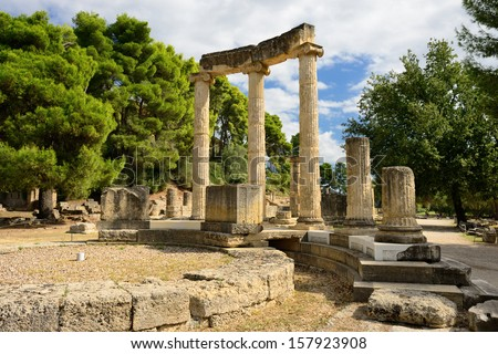 Greece Olympia, ancient ruins of the important Philippeion in Olympia, birthplace of the olympic games  -   UNESCO world heritage site   - stock photo
