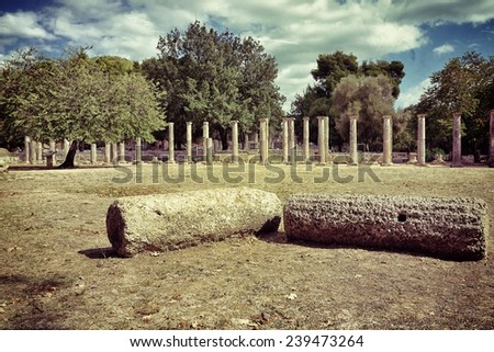 Greece Olympia, ancient ruins of the Palaestra, area in which athletes trained for wrestling in Olympia, UNESCO world heritage site. Filtered image - stock photo