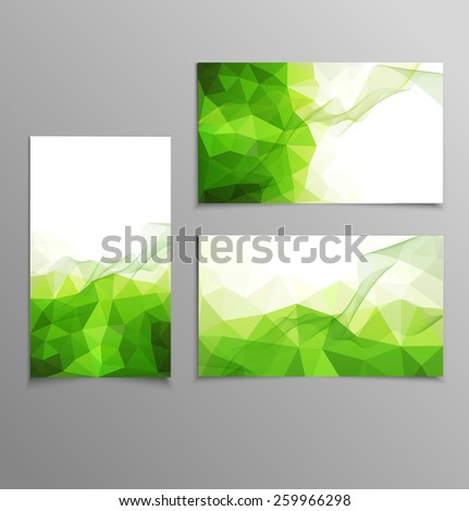 green abstract business card templates - stock photo