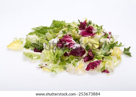 Green and red leaf of lettuce . Isolated on a white background - stock photo