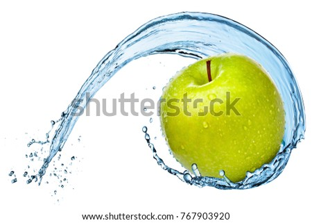 Green apple in water splash isolated on the white background.