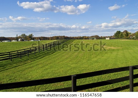 """Green Fields"" Green pastures and a bright blue sky with puffy clouds in rural Central New Jersey. - stock photo"