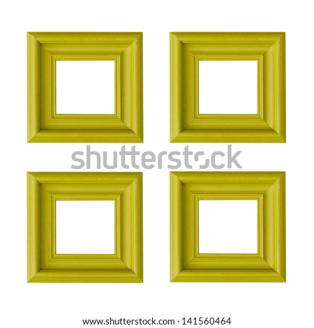 green Four  picture frames - stock photo