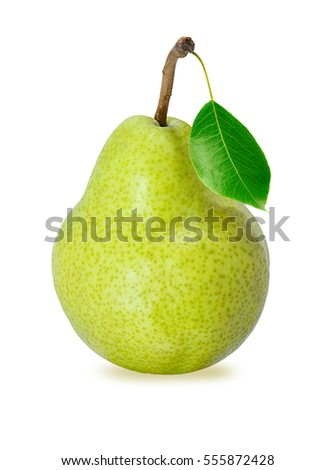 Green pear with leaf isolated on white background