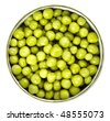 green peas in a can, canned isolated on white background - stock photo