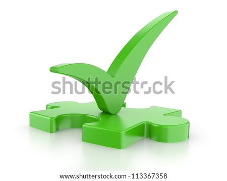 Green puzzle with a check mark on a white background