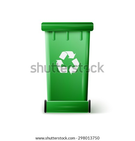 green recycle garbage can - stock photo