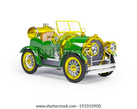 1910 green retro car on a white background in steampunk style - stock photo
