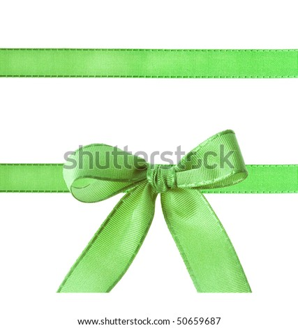green ribbon bow isolated on white - stock photo