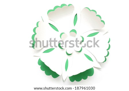 greeting card background with handmade paper flower - stock photo