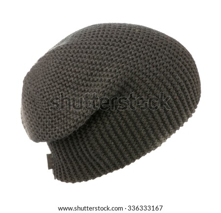 grey knitted hat isolated on white background .