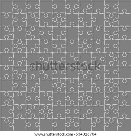 100 Grey Puzzles Pieces Arranged in a Square - JigSaw. Illustration for Web Design. Background. Grey Pieces Flat Puzzle Infographic Presentation. Banner. Image.