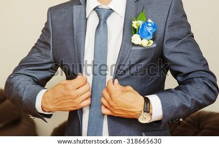 groom on wedding day.  - stock photo