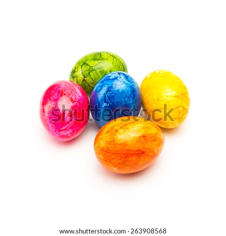 group of colorful easter eggs colorful colors on white background.