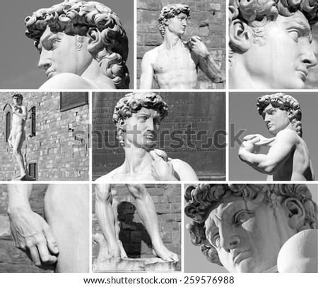 group of images with  David's  statue by Michelangelo in  Florence, Tuscany, Italy, Europe - stock photo