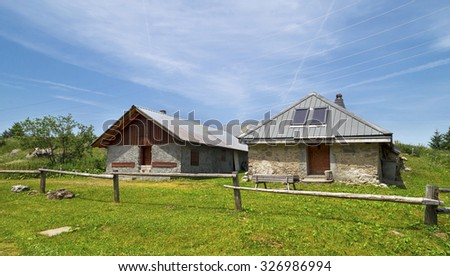 Group of stones cottages in Pertuis ,at 1694 m ,one of  the top of the ski slopes in  Portes du Soleil region , French Alps Mountains