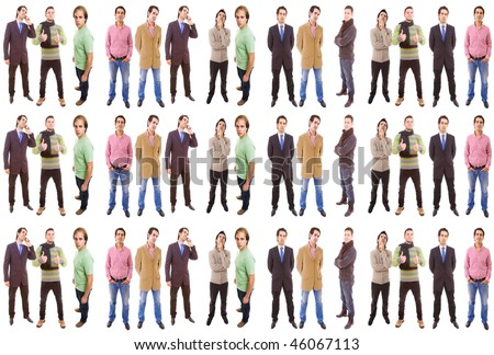 3 groups of different people isolated on white background - stock photo