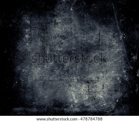 Grunge Abstract Wall Background. Scratched Blue Texture With Frame