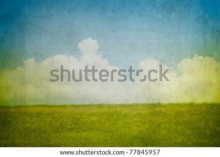 Grunge background with landscape - stock photo