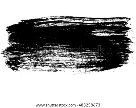 grunge brush strokes ink paint isolated on white background
