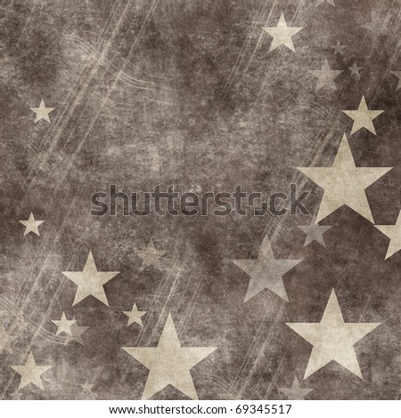 grunge illustration  with stars - stock photo