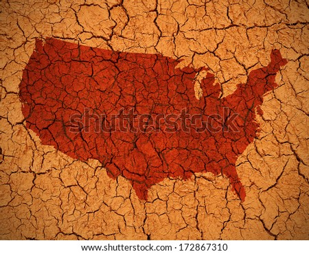 Grunge Map of th U.S.A in dry cracked mud - stock photo
