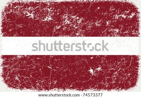 grunge styled flag of latvia - stock photo
