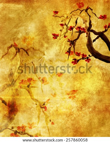 Grungy background with Plum blossom. Picture in east style by India ink, sumi-e - stock photo
