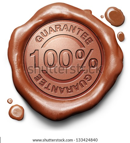 100% guarantee icon in red wax seal. Quality control guaranteed stamp or button. - stock photo