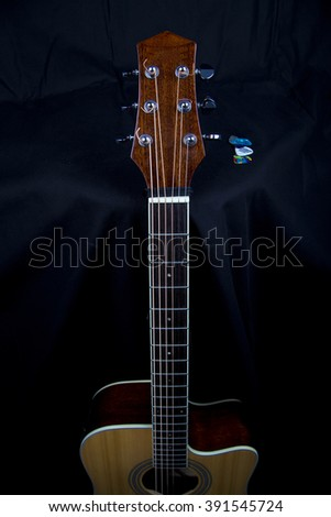 Guitar fingerboard,Electric guitar parts,guitar, acoustic, musical, music, instrument, background, detail, part, string, head, art,classical, closeup, wooden, sound,  audio, instruments, ukulele - stock photo