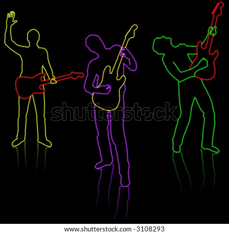 3 guitarist (silhouette) on a black background