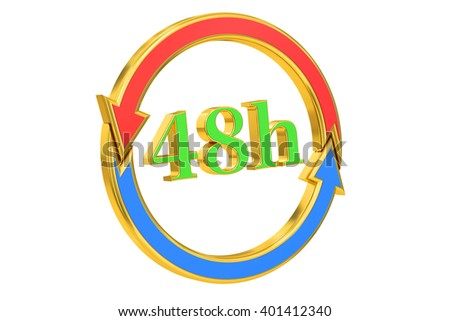 48h delivery concept, 3D rendering isolated on white background - stock photo